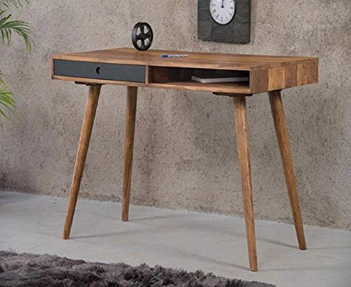 MH Decoart Sheesham Wood Modern Study Table Office Desk Laptop Computer Workstation for Home with Drawers & Shelf (Honey Finish)