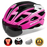 Basecamp Bike Helmet, Light weight Bicycle Helmet Specialized Cycling Helmet with Removable Visor& Safety Light& Adjustable Liner for Men&Women (Pink)
