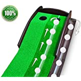 Putting Aid Golf Indoor Putting Mat ★ Automatic Golf Putting Practice Training Aid ★ Premium Wooden Putting Green for Executive Level Playing ★ 100% Money Back Guarantee