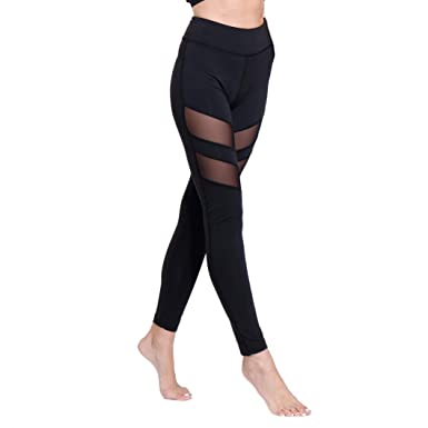288526ca3997ce Amazon.com: YOFIT Womens Yoga Pants High Waist Fitness Leggings - Power  Stretch Workout Tights Running Leggings Mesh Patchwork: Clothing