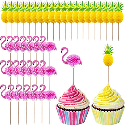 TecUnite 40 Pieces Cupcake Toppers Cocktail Picks Cake Decoration for Luau Hawaii Birthday Wedding Beach Party (Flamingo and Pineapple)