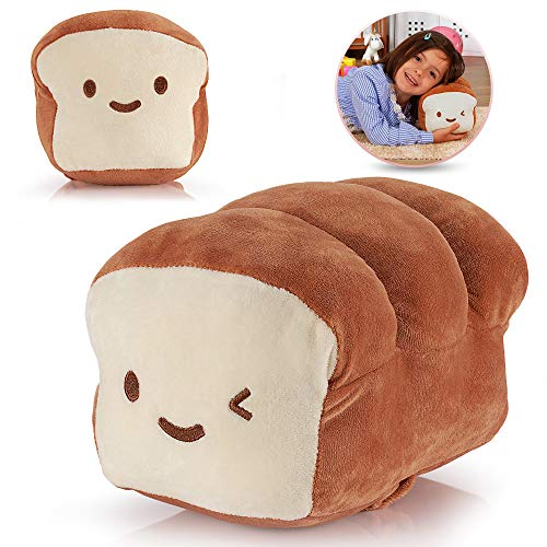 HAKOL Bread Plush Pillow Cushion Doll, 10 Inch - Cotton Food Decoration for Home Interior & Kids Room - Soft Kawaii Plushy Toy for Children - Great Gift Idea