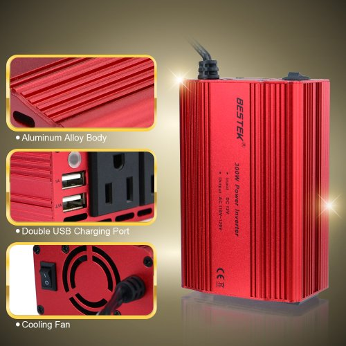 BESTEK Dual 110V AC outlets and Dual USB 3.1A 300w power inverter car dc 12v to 110v ac inverter dc adapter laptop charger notebook adapter dc charger ac adapter usb charger MRI3011BU