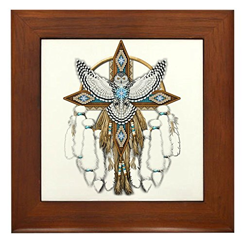 Owl Tile (CafePress - Snowy Owl Mandala - Framed Tile, Decorative Tile Wall Hanging)