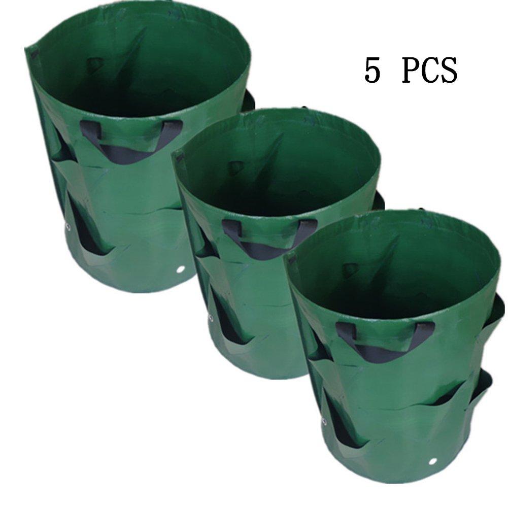 5pcs Plastique réutilisables Plante Sacs Sacs de plantation Fraise en pleine Croissance Sacs pour Home balcon Jardin Herbe végétales Whit Poignée zsl