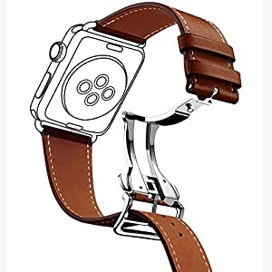 Apple Watch Band,GEOTEL 42mm iWatch Band Strap Premium Genuine Leather Replacement Watchband with Deployment Buckle for All Apple Watch Sport Edition (42mm Brown)