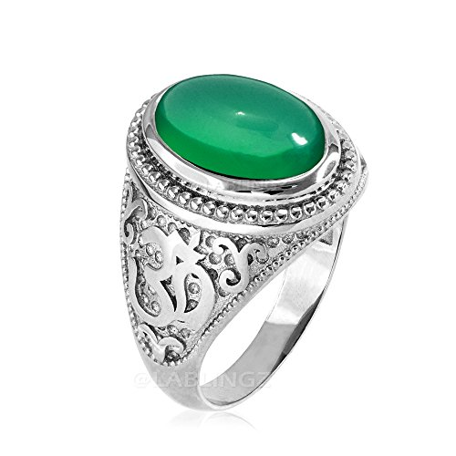 Cut Onyx Gemstone Ring (LA BLINGZ Sterling Silver Om (aum) Oval Green Onyx Gemstone Ring (12.75))