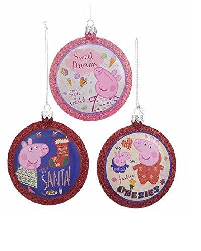 Kurt Adler Peppa Pig Glittered Christmas Disc Ornament Set- 3 Assorted: