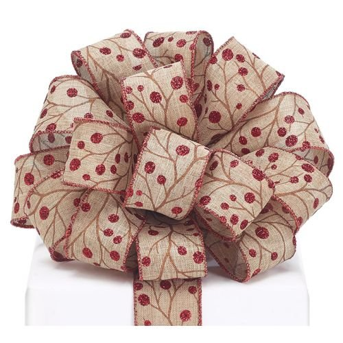 Burton and Burton 9730926#9 Khaki/Red Berries Wired Ribbon, Multicolor by Burton & Burton