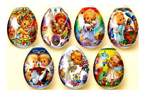 Religious Guardian Angel Plastic Shrink Wrap Easter Egg Decorations, Pack of 7