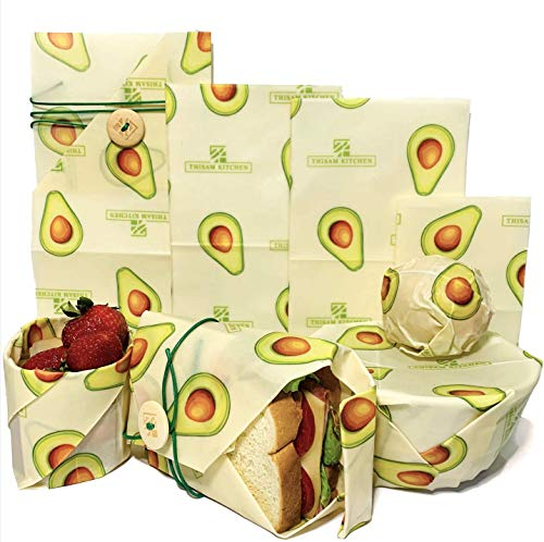 Beeswax Food Wrap by Thisam Kitchen - 4 Pack - Eco Friendly Reusable Food Wrap - Sustainable, Washable, Organic & Perfect For Storage - Food Wrap - BPA & Plastic Free BeesWax Food Wraps - Zero Waste (Eco Wrap)