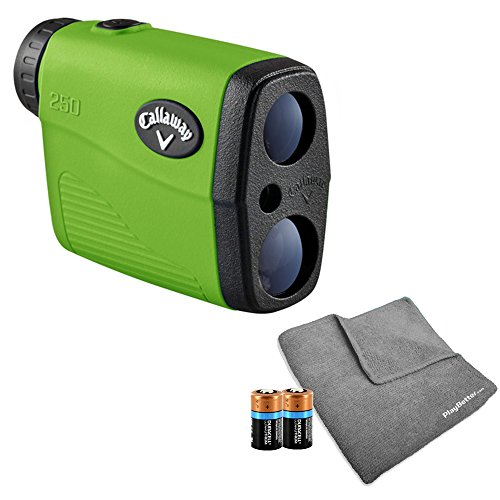 (Callaway 250 Golf Rangefinder BUNDLE | Includes Golf Rangefinder with Carrying Case, Magnetic Golf Cart Mount, PlayBetter Microfiber Towel and Two (2) CR2 Batteries)