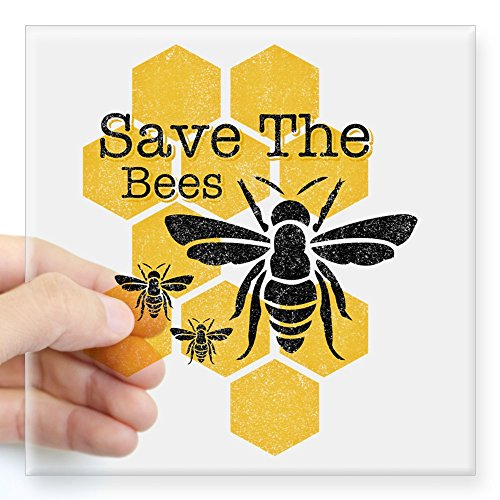 CafePress Honeycomb Save The Bees Square Sticker 3 X 3 Square Bumper Sticker Car Decal, 3