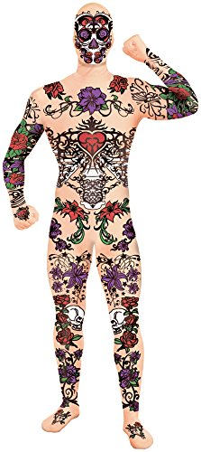 Forum Novelties Men's Disappearing Man Tattoo Costume, Multi, Standard -