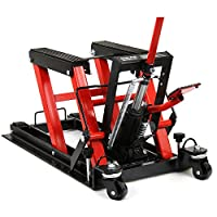 Smartxchoices Red/Black Motorcycle ATV Jack 1500 lbs Lift Stand Quad Dirt Street Bike Hoist (#1)