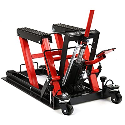 Smartxchoices Red/Black Motorcycle ATV Jack 1500 lbs Lift Hoist Jacks Repair Bike Auto Hoists