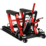 "ZENY 1500 LB Hydraulic Motorcycle/ATV Hoist Jacks Stand Quad Dirt Street Bike Hoist Up To 14.76"" High (Red)"