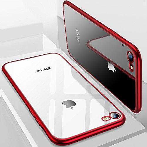 iPhone 8 Case, iPhone 7 Case, TORRAS Crystal Clear Soft Cover Case with Electroplated Frame Ultra Slim TPU Gel Case for Apple iPhone 7/8, Red Red Crystal Case