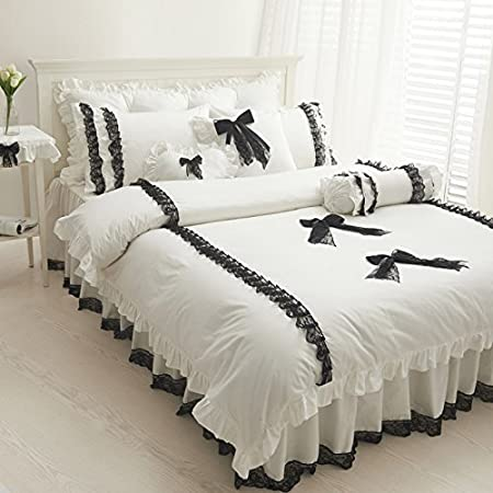 Fadfay Home Textile Cute Girls Black And White Bedding Set White