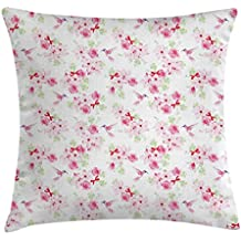 Hummingbirds Throw Pillow Cushion Cover by Lunarable, Hummingbirds and Bouquets with Magnolias Roses Pattern Floral Print, Decorative Square Accent Pillow Case, 26 X 26 Inches, Pink Red Pale Green