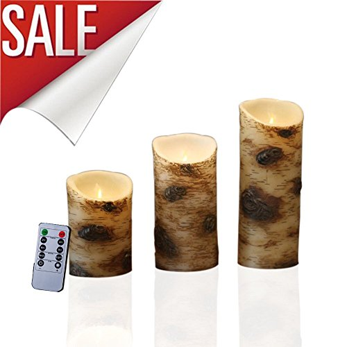 Set of 3 Flameless Candles With The effect Of Birch Bark Include 10 Key RemoteWith 24 Hours Timer Function Control Pine Glassware