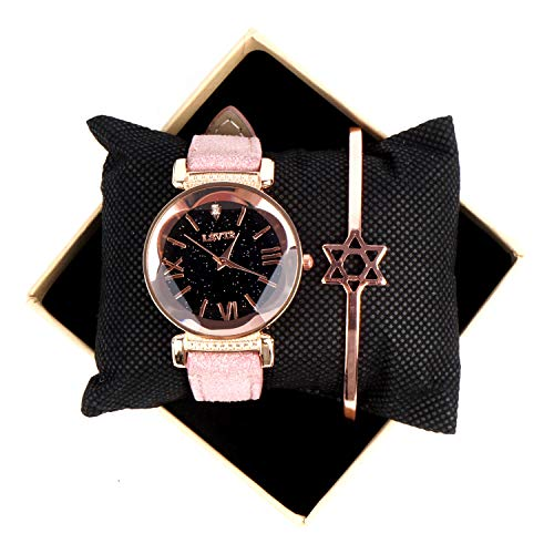 Fashion Women's Bling Starry Sky Watch with Pink Leather Watch and Bracelet Set Gifts