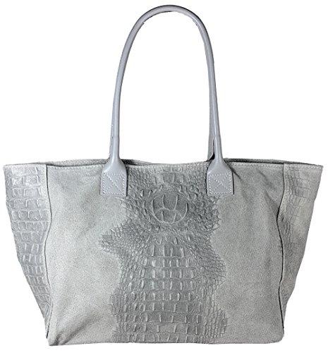 Freyday Women's Top Handle Bag Hellgrau Kroko 5rr0dwqxP