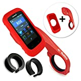 Tuff-Luv 3 in 1 Combo Silicone Gel Skin Case and Screen Cover for Garmin Edge 1000 with Out-Front Handlebar Mount - Red