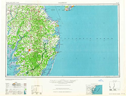 YellowMaps Salisbury MD topo map, 1:250000 Scale, 1 X 2 Degree, Historical, 1965, 23.9 x 31.3 in - Polypropylene -