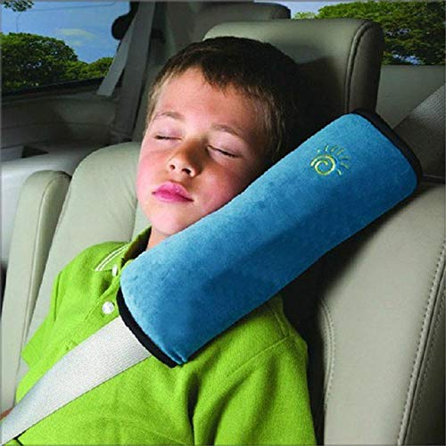 (Baby Children Safety Strap Micro-Suede Fabric Car Seat Belts Pillow Shoulder Protection 28x9x12cm Blue)