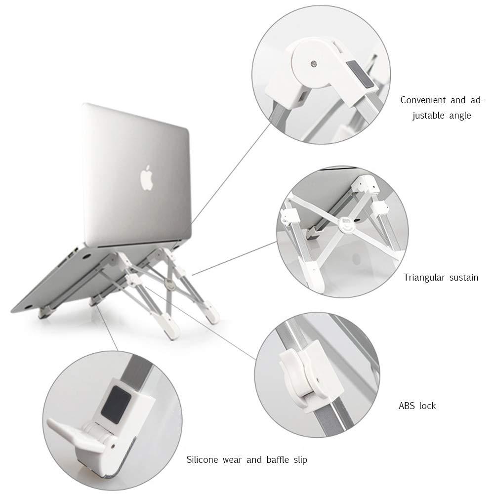 BESTUNE Soporte para computadora portátil, Soporte Ajustable Plegable y Ajustable Soporte para Viajes, Soporte Compacto y Universal para MacBook/computadora portátil/computadora portátil/Tableta-Blanco c2dee9