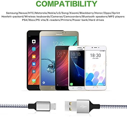Wall Charger,KerrKim Dual USB Charger Adapter USB Wall Charger with 2-Pack 6FT Braided Nylon Micro USB Cable Android Charger Cord for Android,Samsung Galaxy S7//S6 Edge J3 J7 LG,HTC,Google /& More