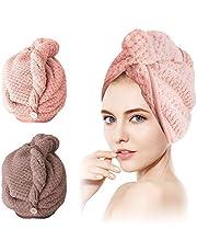SCOBUTY Turban, ręcznik do włosów, ręcznik do włosów, 2 sztuki, szybkoschnący, ręcznik do włosów z guzikiem, chłonny, super chłonny, do wszystkich rodzajów włosów