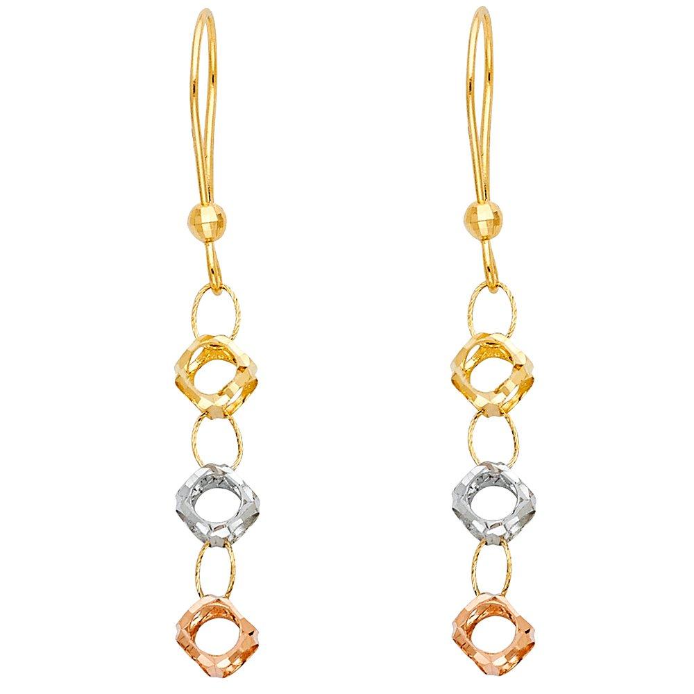 14K Tri Color Gold Perforated Ball Hanging Shepherds Hook Earrings Ioka