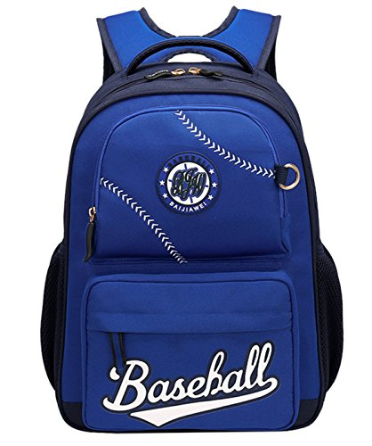Amazon.com | Baseball School Bag Water Resistant Nylon Backpack with Two Zipper Mini Cap for Student Girls Boys Blue | Kids Backpacks