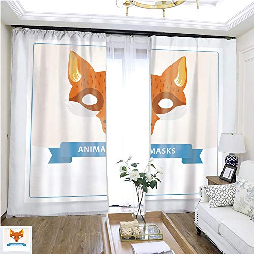Children Curtain Fox Role Play mask for Children s Theater or Birthday Party Cute Animal s Muzzle Flat Vector Design for Invitation Kids Greeting Card or Masquerade Flyer W72 x L81 Christmas curtai ()