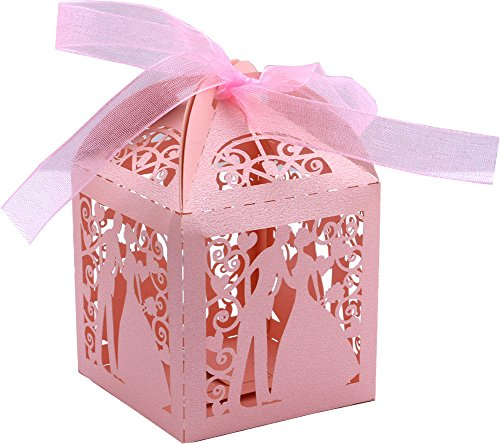 (DriewWedding 50PCS Couple Design Wedding Bridal Favor Gift Candy Boxes Case, Hollow Wrap Boxs Bag with Ribbon Party Table Decor Kit Treat Box Chocolate Candy Wrappers Holders (Pink) )