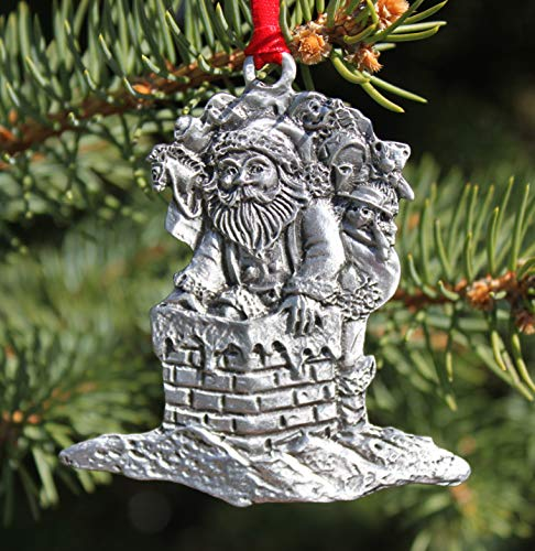 Hastings Pewter Companyhastings Pewter Company Lead Free Pewter Santa In A Chimney Christmas Ornament Made In Michigan Decoration Dailymail