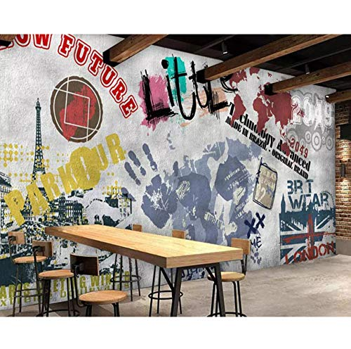 Paris Murals - Mural Custom Wallpaper Street Graffiti Paris Tower bar ktv Background murals Living Room Bedroom TV Background 3D Wallpaper 120x100cm