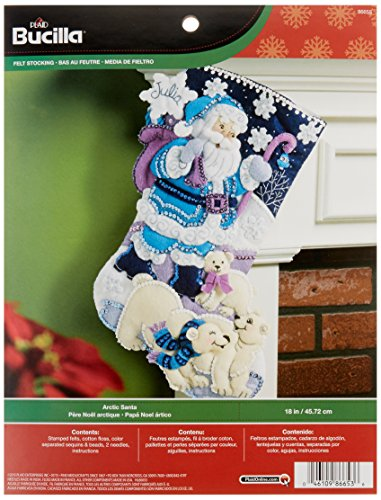 Bucilla 18-Inch Christmas Stocking Felt Applique Kit, 86653