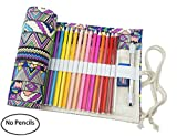 Canvas Pencil Wrap Pencil Pouch Case-72 Colored Pencil Roll up Travel Drawing Coloring Pencil Holder (Pencils are not Included) for Artists,for Adults,Students and Children