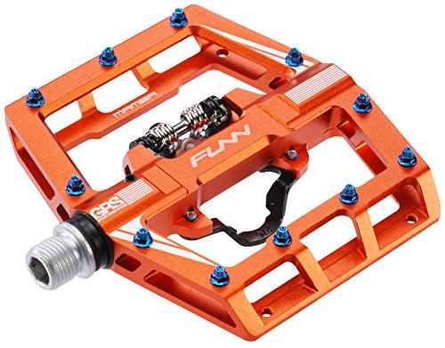 Funn Mamba MTB Pedal Set, Single Side Clip, SPD Compatible (Orange) (Best Mtb Clipless Pedals)