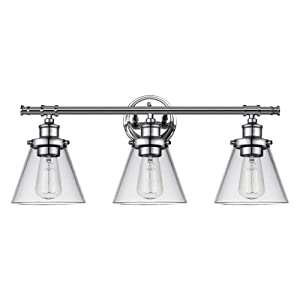 Globe Electric Parker 3 Chrome Vanity Light with Clear Glass Shades 51445, 2