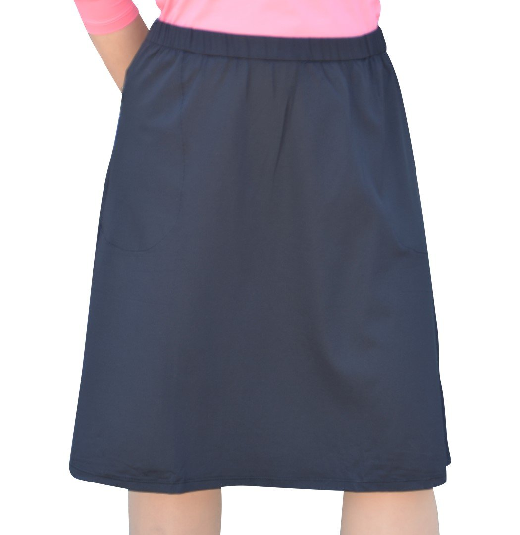 Kosher Casual Women's Modest Knee-Length Swim/Sport Skirt with On-Seam Side Zip Pockets & Attached Shorts XL Black