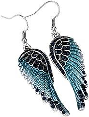 Angel Jewelry Women's Crystal Angel Wings Dangel Earrings Biker Jew