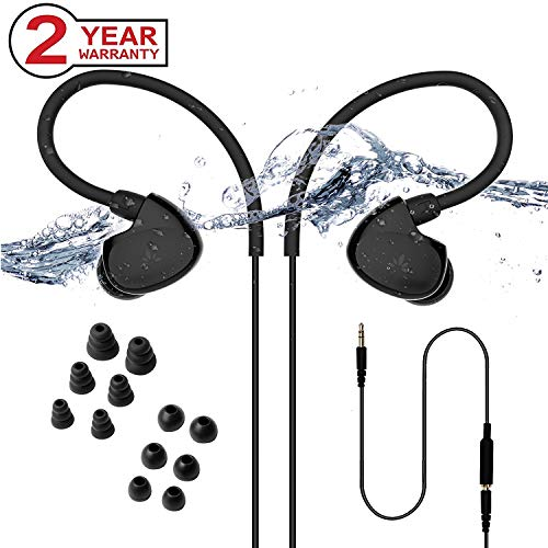 Avantree TR509 IPX7 Waterproof Earbuds for Swimming, Secure Fit Headphones for Running, Sports, Diving or Surfing with Ear Hook, Short Cord and 6 Pairs of Soft Earbud Tips (Not Bluetooth)