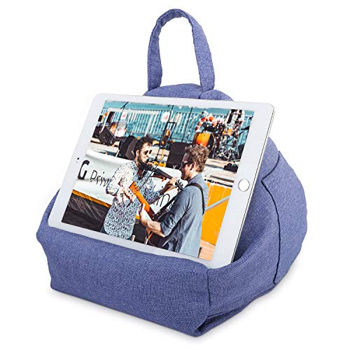 MoKo Tablet Pillow Stand, Tablet Lap Pillow on Bed Sofa Soft Cushion Holder for Phones Tablets Up to 12.9 Inch, Fit with iPad Air 3 2, iPad Mini 5, Pro 11/10.5/9.7, Mini 4, Galaxy Tab - Denim Blue