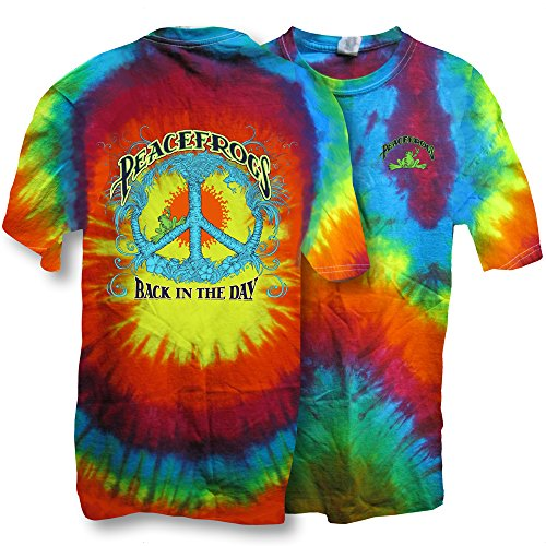 Frog Tie Dye - Peace Frogs Back in the Day Frog Spiral Tie Dye Short Sleeve T-shirt