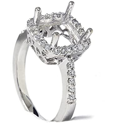 12ct princess cut halo diamond engagement ring setting - Wedding Ring Setting
