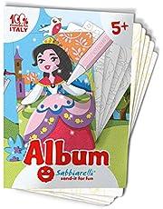 Sabbiarelli Sand-it For Fun - Album Prinsessen: 5 Zelfklevende Tekeningen om in te Kleuren met Zand (niet inbegrepen), Geschikt voor kinderen vanaf 5 jaar